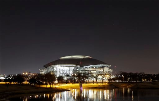 This Thursday, Jan. 13, 2011 photo shows a view of Cowboys Stadium in Arlington, Texas. The temperature might be 75 during the first Super Bowl week in Dallas-Fort Worth.