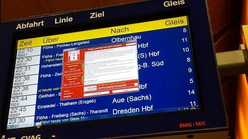 In this May 12, 2017 photo, a display panel with an error can be seen at the main railway station in Chemnitz, Germany.