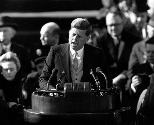 FILE _ U.S. President John F. Kennedy delivers his inaugural address after taking the oath of office at Capitol Hill in Washington, D.C. in this Jan. 20, 1961 file photo.
