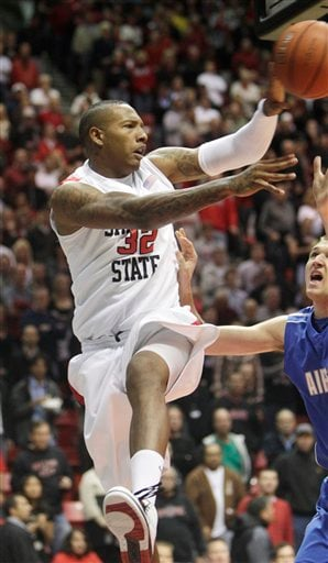 San Diego State's Billy White sends a pass up the lane from behind the basket while being pressured by Air Force's Taylor Broekhuis during the first half of an NCAA college basketball game in San Diego, Wednesday, Jan. 19, 2011. (AP Photo/Lenny Ignelzi)