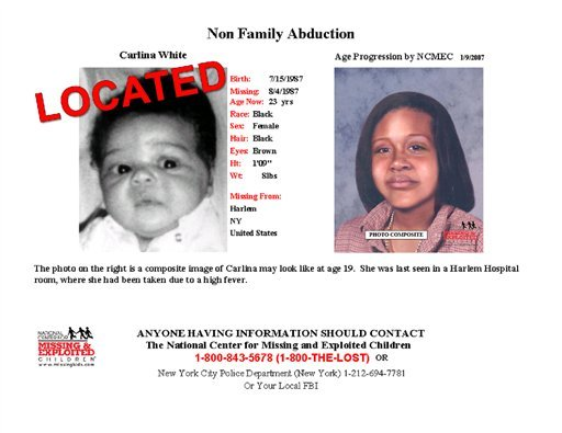This poster released by the National Center for Missing and Exploited Children shows Carlina White as an infant, left, and what she might have looked like as an adult, right.