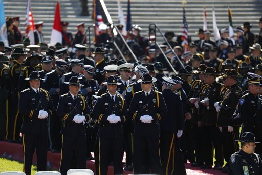 Law enforcement officers gather on Capitol Hill in Washington, Monday, May 15, 2017, for the 36th Annual National Peace Officers' memorial service. (AP Photo/Pablo Martinez Monsivais)