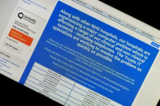 NHS website affected by international computer cyber attack Ransomware cyber attack, London, UK - 13 May 2017 (Rex Features via AP Images)