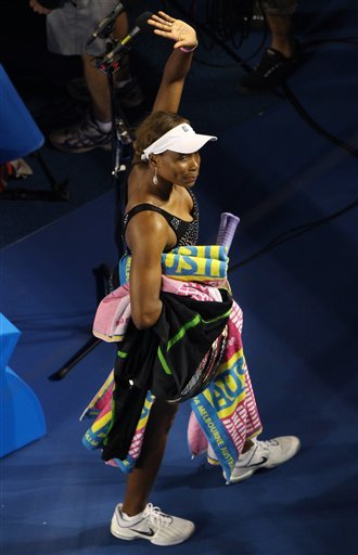 Venus Williams lasted just seven points in her third-round match Friday at the Australian Open, forced to withdraw due to injury from a Grand Slam singles match for the first time in her career. (AP Photo/John Donegan)