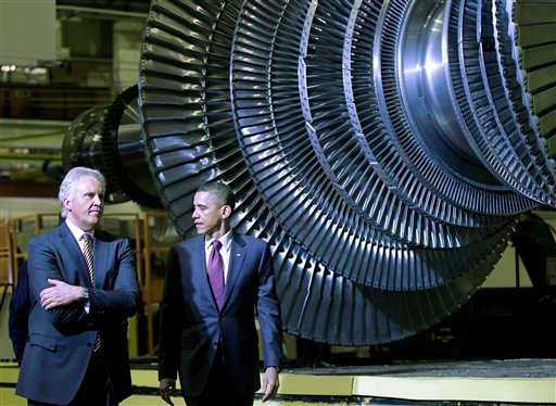 President Barack Obama and GE CEO Jeffrey Immelt visit the birthplace of the General Electric Co., to showcase a new GE deal with India and to announce a restructured presidential advisory board , Friday, Jan. 21, 2011, in Schenectady, N.Y. (AP Photo)