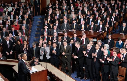 In this Jan. 27, 2010, file photo President Barack Obama delivers his State of the Union address on Capitol Hill in Washington. (AP Photo/Pablo Martinez Monsivais)