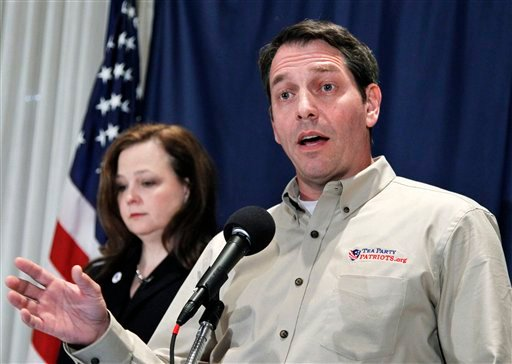 In this Nov. 3, 2010, file photo Tea Party Patriots co-founders Mark Meckler, right, with Jenny Beth Martin, speaks at a news conference at the National Press Club in Washington.  (AP Photo/Manuel Balce Ceneta, File)