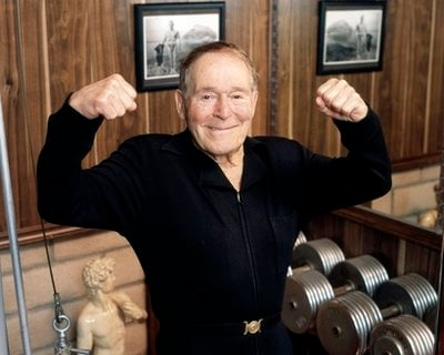 FILE - This undated file image provided by Ariel Hankin shows fitness pioneer Jack LaLanne. LaLanne, the fitness guru who inspired television viewers to trim down and pump iron for decades before exercise became a national obsession, died Sunday.