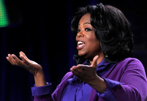 Oprah Winfrey, chairman of Oprah Winfrey Network, addresses reporters during the Discovery Communications Television Critics Association winter press tour in Pasadena, Calif., Thursday, Jan. 6, 2011. (AP Photo/Chris Pizzello)