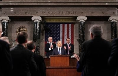 President Barack Obama delivers his State of the Union address on Capitol Hill in Washington, Tuesday, Jan. 25, 2011.