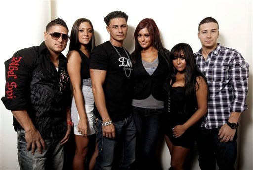 """From left, cast members Ronnie Ortiz-Magro, Sammi Giancola, Paul DelVecchio, Jenni Farley, Nicole Polizzi, and Vinny Guadagnino, from the television show """"Jersey Shore"""", pose for a portrait in Los Angeles on Sept. 13, 2010."""