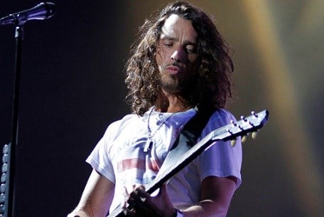 Chris Cornell of Soundgarden performs during the Lollapalooza music festival in Grant Park in Chicago.