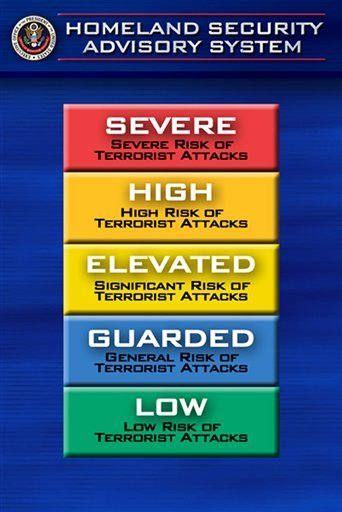 In this March 12, 2002 file photo, the color-coded terrorism warning system is shown in Washington. By the end of April, terror threats to the U.S. will no longer be described in shades of green, blue, yellow, orange and red.
