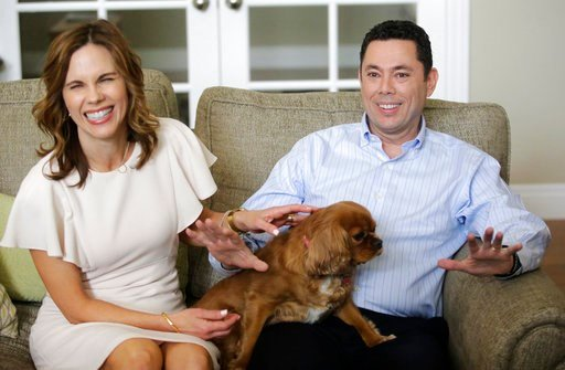 U.S. Rep. Jason Chaffetz and his wife Julie speak with reporters at their home Thursday, May 18, 2017, in Alpine, Utah.  (AP Photo/Rick Bowmer)