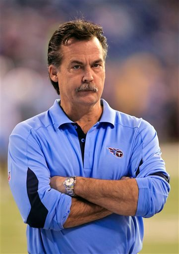 In this photo taken Jan. 2, 2011, Tennessee Titans coach Jeff Fisher stands on the field before the Titans' NFL football game against the Indianapolis Colts in Indianapolis.