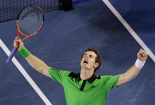 Britain's Andy Murray celebrates his win over Spain's David Ferrer in their men's semifinal at the Australian Open tennis championships in Melbourne, Australia, Friday, Jan. 28, 2011. (AP Photo/John Donegan)