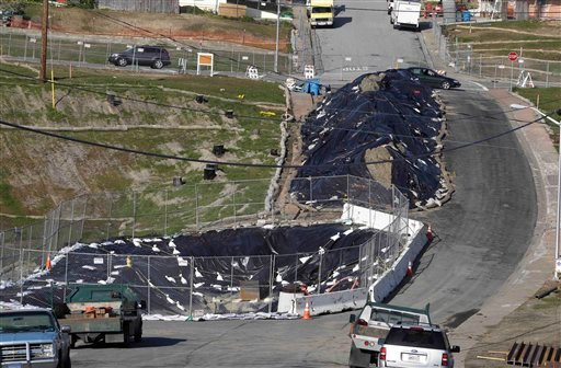 Tarps cover the site in San Bruno, Calif., Jan. 12, 2011 where a gas pipeline explosion started. Officials in the San Francisco suburb devastated by a fatal explosion have decided how to distribute $400,000 in donations. (AP Photo/Paul Sakuma)