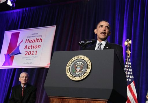 President Barack Obama addresses the Families USA 16th Annual Health Action Conference, in Washington, Friday, Jan. 28, 2011. Families USA is an consumer advocacy health care organization. At left is Families USA Executive Director Ron Pollack. (AP Photo/