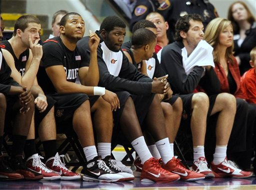 San Diego State's bench glances at the scoreboard late in a game against BYU during the second half of an NCAA college basketball game in Provo, Utah, Wednesday, Jan. 26, 2011. BYU beat San Diego State 71-58. (AP Photo/George Frey)