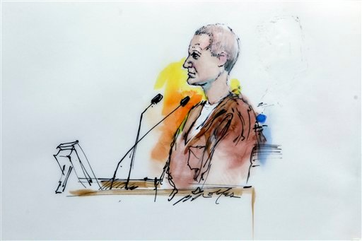 In this artist rendering, Jared Lee Loughner makes his first court appearance at the Sandra Day O'Connor United States Courthouse in Phoenix, Ariz., Monday, Jan. 10, 2011.