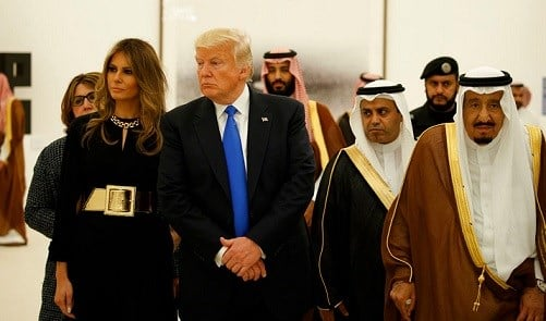 President Donald Trump and first lady Melania Trump visit an art exhibit with Saudi King Salam at the Royal Court Palace.