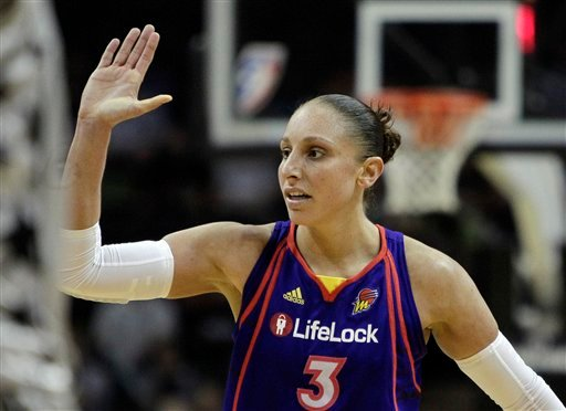 In a Aug. 28, 2010 file photo, Phoenix Mercury's Diana Taurasi celebrates with teammates during the fourth quarter of a Western Conference semifinal WNBA basketball game against the San Antonio Silver Stars, in San Antonio. (AP)