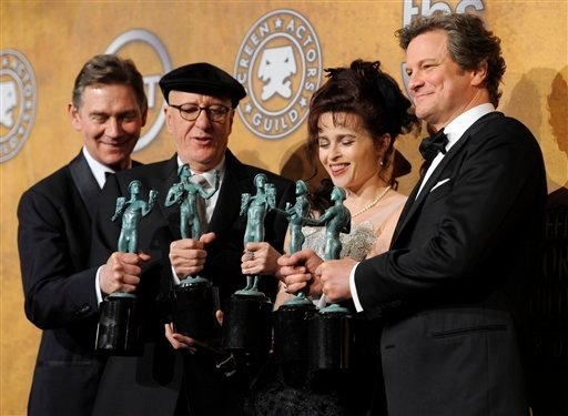 "From left, Anthony Andrews, Geoffrey Rush, Helena Bonham Carter and Colin Firth hold best ensemble awards for "" The King's Speech"" at the 17th Annual Screen Actors Guild Awards."