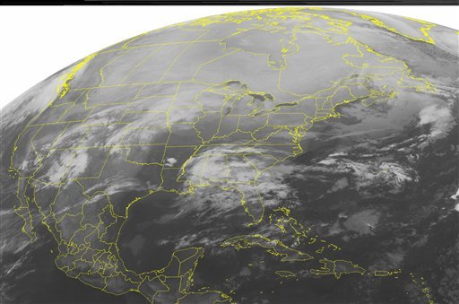 This NOAA satellite image taken Monday, Jan. 31, 2011 at 12:45 a.m. EST shows overcast skies over the Southeast as a frontal boundary taps into Gulf moisture and produces rain showers throughout the region.