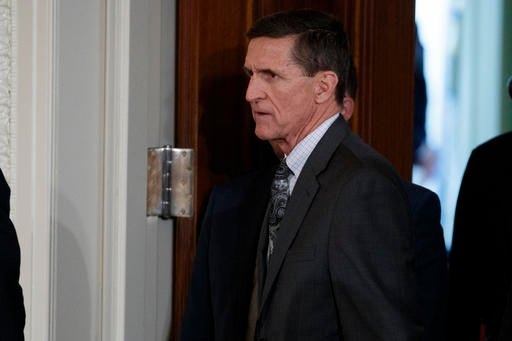 In this photo taken Feb. 13, 2017, Mike Flynn arrives for a news conference in the East Room of the White House in Washington. (AP Photo/Evan Vucci)