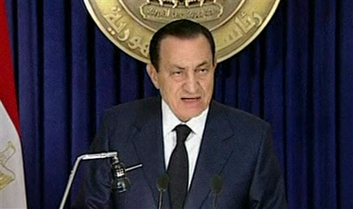 In this image from Egyptian state television aired Tuesday evening Feb. 1, 2011, Egyptian President Hosni Mubarak delivers an address announcing he will not run for a new term in office in September elections.