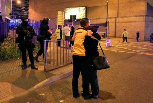 """Police says there are """"a number of fatalities"""" after reports of an explosion at an Ariana Grande concert in northern England. (Peter Byrne/PA via AP)"""