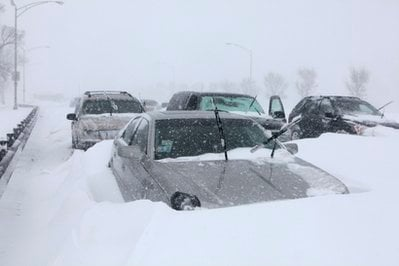 Hundreds of cars are seen stranded on Lake Shore Drive, Wednesday, Feb. 2, 2011 in Chicago.