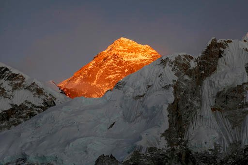 FILE - In this Nov. 12, 2015, file photo, Mt. Everest is seen from the way to Kalapatthar in Nepal.  (AP Photo/Tashi Sherpa, File)