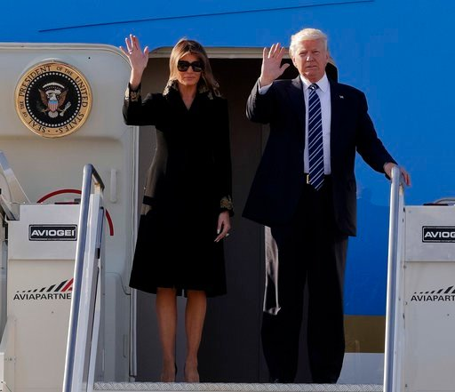 US President Donald Trump and his wife Melania arrive at Fiumicino's Leonardo Da Vinci International airport, near Rome, Tuesday, May 23, 2017. (AP Photo/Andrew Medichini)