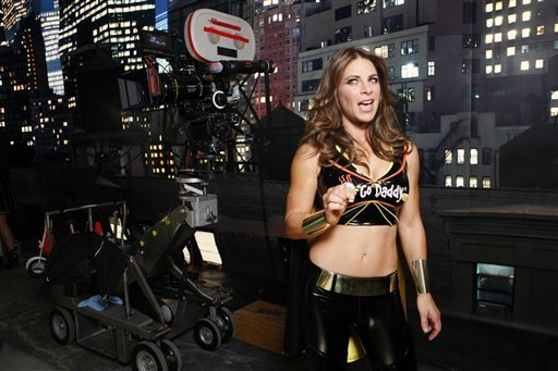 """In this photo taken Monday, Dec. 6, 2010, GoDaddy.com Girl Jillian Michaels, Fitness trainer & """"Biggest Loser"""" celebrity, is seen during the filming production of the 2010 Super Bowl television commercial for """"GoDaddy.com""""."""