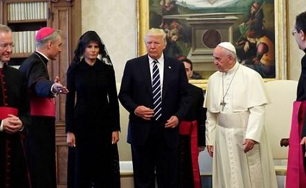 U.S. President Donald Trump and first lady Melania Trump meet Pope Francis.