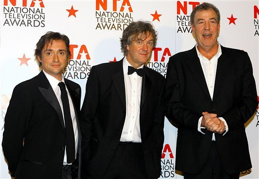 """FILE - This is a Jan. 26, 2011 file photo of Top Gear presenters Richard Hammond, left, James May, centre, and Jeremy Clarkson. The BBC apologized Friday Feb. 4, 2011 to Mexico's ambassador for remarks on its """"Top Gear"""" program."""