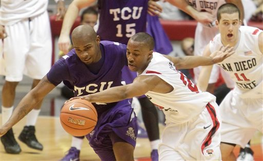 San Diego State's D.J. Gay steals the ball from TCU's Greg Hill during the first half of an NCAA college basketball game in San Diego, Saturday, Feb. 5, 2011. (AP Photo/Lenny Ignelzi)