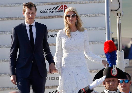 Ivanka Trump and her husband Jared Kushner arrive at Fiumicino's Leonardo Da Vinci International airport, near Rome, Tuesday, May 23, 2017.  (AP Photo/Andrew Medichini)
