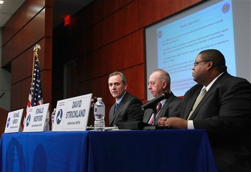 From left, Michael Kirsch, principal engineer, NASA Engineering and Safety Center (NESC); National Highway Traffic Administration (NHTSA) Deputy Administrator Donald Medford; and (NHTSA) Administrator David Strickland, speak about the Toyota recalls.