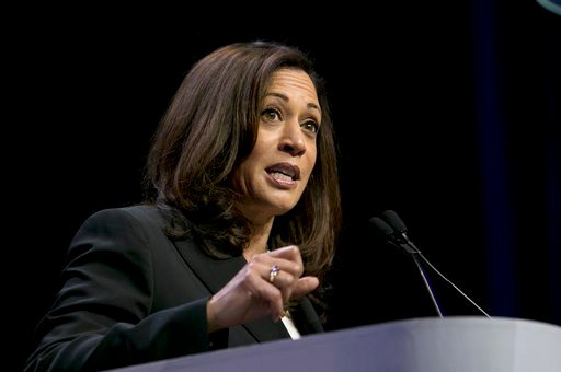 U.S. Sen. Kamala Harris, D-Calif., speaks during the California Democratic Party Convention in Sacramento, Calif., on Saturday, May 20, 2017. (AP Photo/Rich Pedroncelli)
