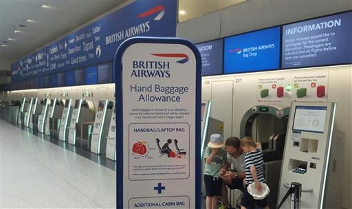 BA IT problem. Passengers at the British Airways check-in desk at Gatwick Airport. Saturday May 27, 2017. Photo credit: Gareth Fuller/PA Wire URN:31476102 (Press Association via AP Images)