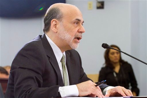 Federal Reserve Chairman Ben Bernanke testifies on Capitol Hill in Washington, Wednesday, Feb. 9, 2011, before the House Budget Committee. (AP Photo/Harry Hamburg)