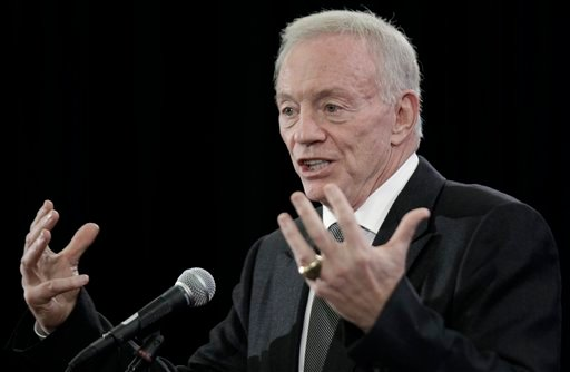 Dallas Cowboys owner Jerry Jones answers a question during a news conference Tuesday, Feb. 1, 2011, in Dallas. The Pittsburgh Steelers will play the Green Bay Packers in Super Bowl XLV at Cowboys Stadium Sunday, Feb. 6, 2011. (AP Photo/David J. Phillip)