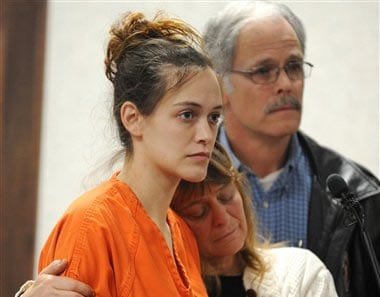 Jessica Ann Blackham, left, appears in at the Greenville Municpal Court in Greenville, S.C., on Wednesday, Feb. 9, 2011, surrounded by her family for a bond hearing.