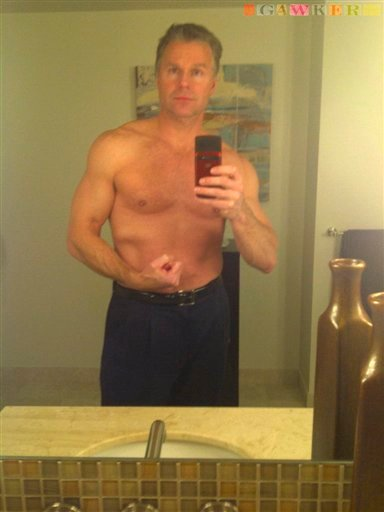 This undated photo provided by Gawker shows Rep. Chris Lee, R-N.Y., posing shirtless in front of a mirror. (AP Photo/Gawker)