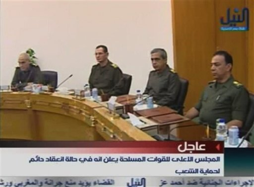 Members of Egypt's military supreme council attend a meeting in this image taken from TV Thursday Feb. 10, 2011. (AP Photo/Nile TV via APTN)
