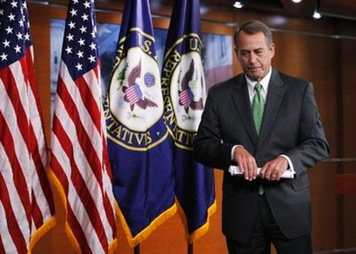 House Speaker John Boehner of Ohio leaves a news conference on Capitol Hill in Washington, Thursday, Feb. 10, 2011.