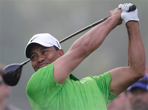 Tiger Woods tees off on the 15th hole during the second round of Dubai Desert Classic golf tournament at the Emirates Golf Club in Dubai, United Arab Emirates, Friday Feb. 11, 2011. (AP Photo/Kamran Jebreili)