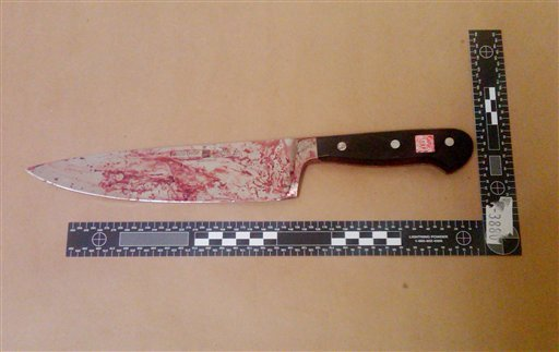 This photo released by the New York City Police Department on Saturday, Feb. 12, 2011 shows a blood-stained kitchen knife. (AP)
